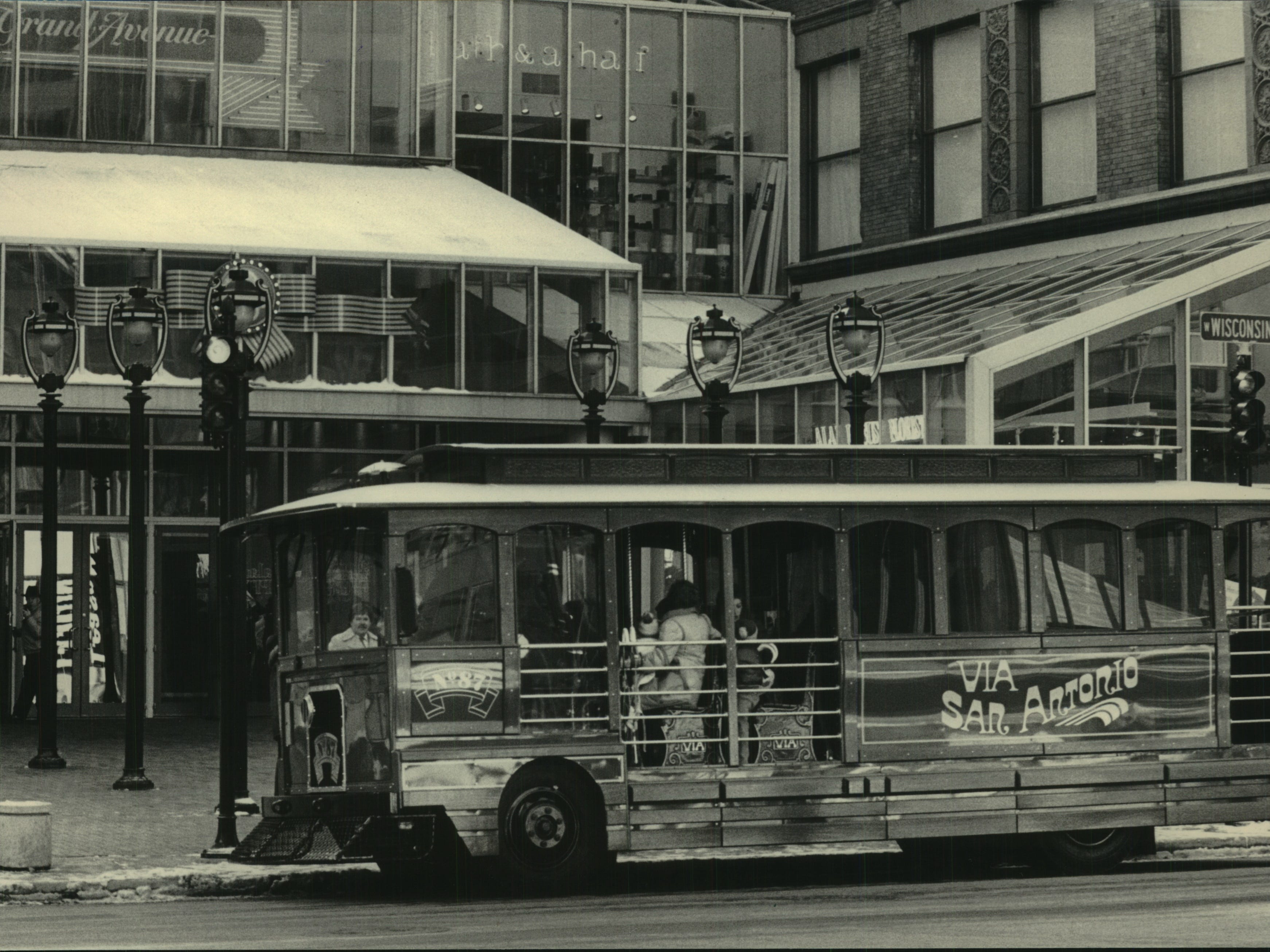 Milwaukeean's had an opportunity to ride a bus designed to look like a trolley Friday. The County Transit System offered free rides starting outside the Grand Avenue retail center. The county is considering buying several of the streetcars for shuttle service for Downtown shoppers and carrying passengers to special events. Transport Company - Buses.