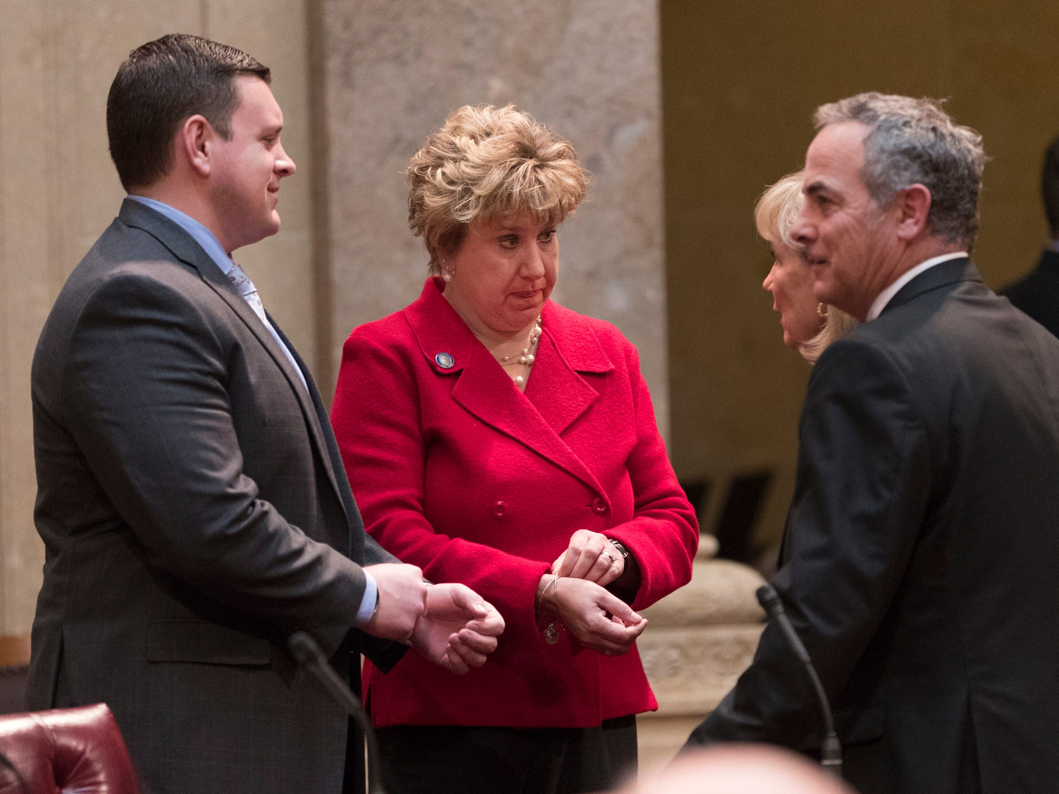State Sen. Patrick Testin, R-Stevens Point (from left), speaks with Senate Minority Leader Jennifer Schilling, D-La Crosse, state Sen. Alberta Darling, R-River Hills,  and state Sen. Jon Erpenbach, D-Middleton, on Tuesday