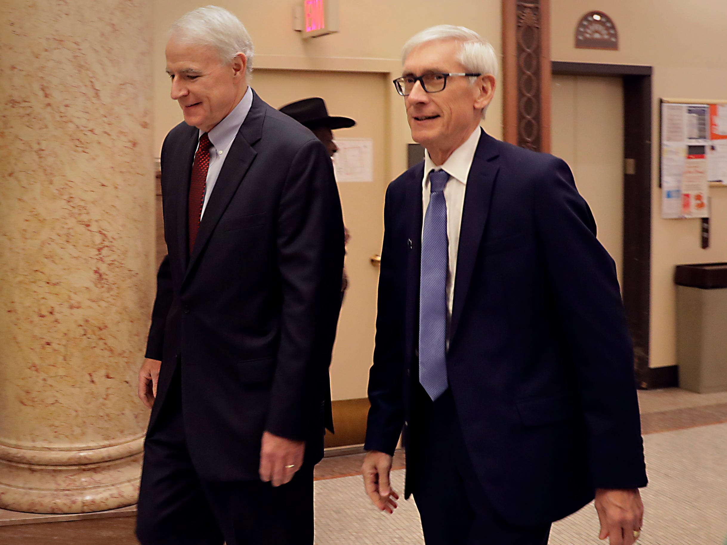 Mayor Tom Barrett (left) welcomes Gov.elect Tony Evers to City Hall on Tuesday.  Evers said he wants to continue working  with Barrett and the Common Council to benefit Milwaukee.
