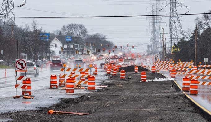 Northbound lanes (at right) remain closed on South 108th St. in Hales Corners on Sunday, Dec. 2, 2018. Construction issues have delayed the project.