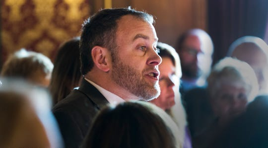 Joined by other Democratic legislators, Assembly Minority Leader Gordon Hintz slams the extraordinary session to curb the powers of the incoming governor and attorney general.