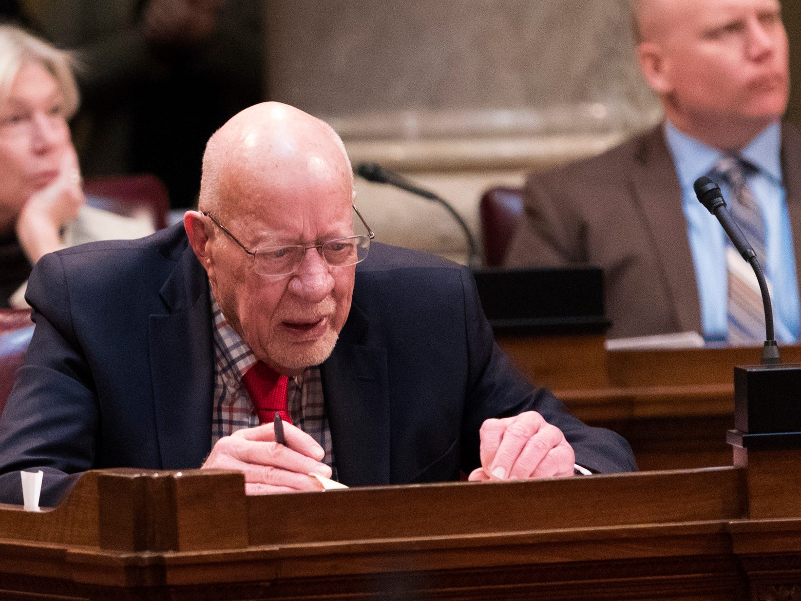 State Sen. Fred Risser, D-Madison, is shown on the Senate floor at the Capitol in Madison, Wis.