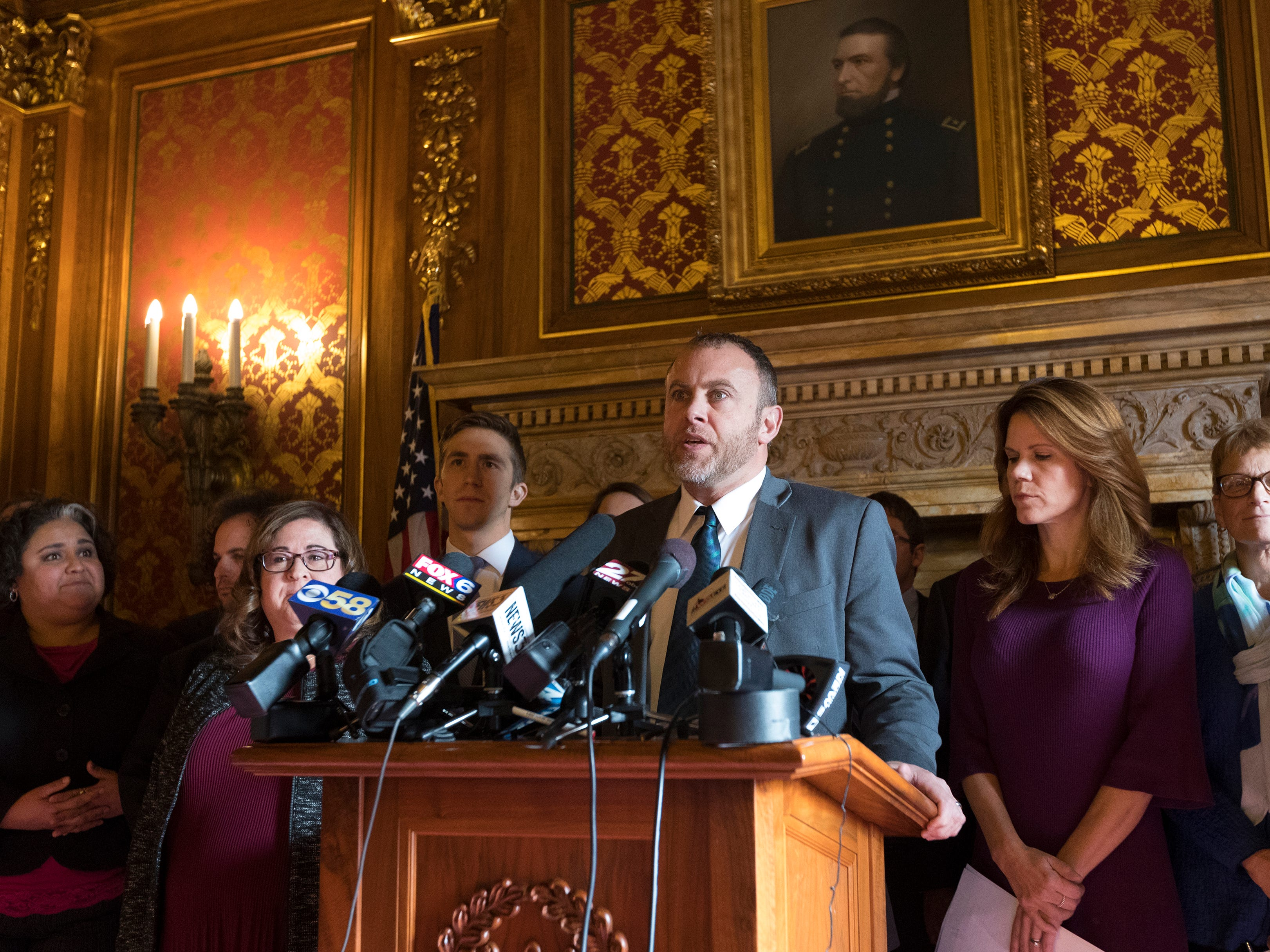 Joined by other Democratic legislators, Assembly Minority Leader Gordon Hintz slams the extraordinary session to curb the powers of incoming governor and attorney general at the Capitol in Madison. The state Senate is taking up measures limiting the powers of Gov.-elect Tony Evers and Attorney General John Kaul when they take office. Opponents promised to pack the state Capitol for it.
