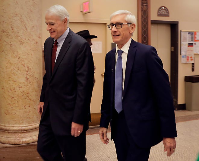 Mayor Tom Barrett and Gov. Tony Evers at Milwaukee City Hall.
