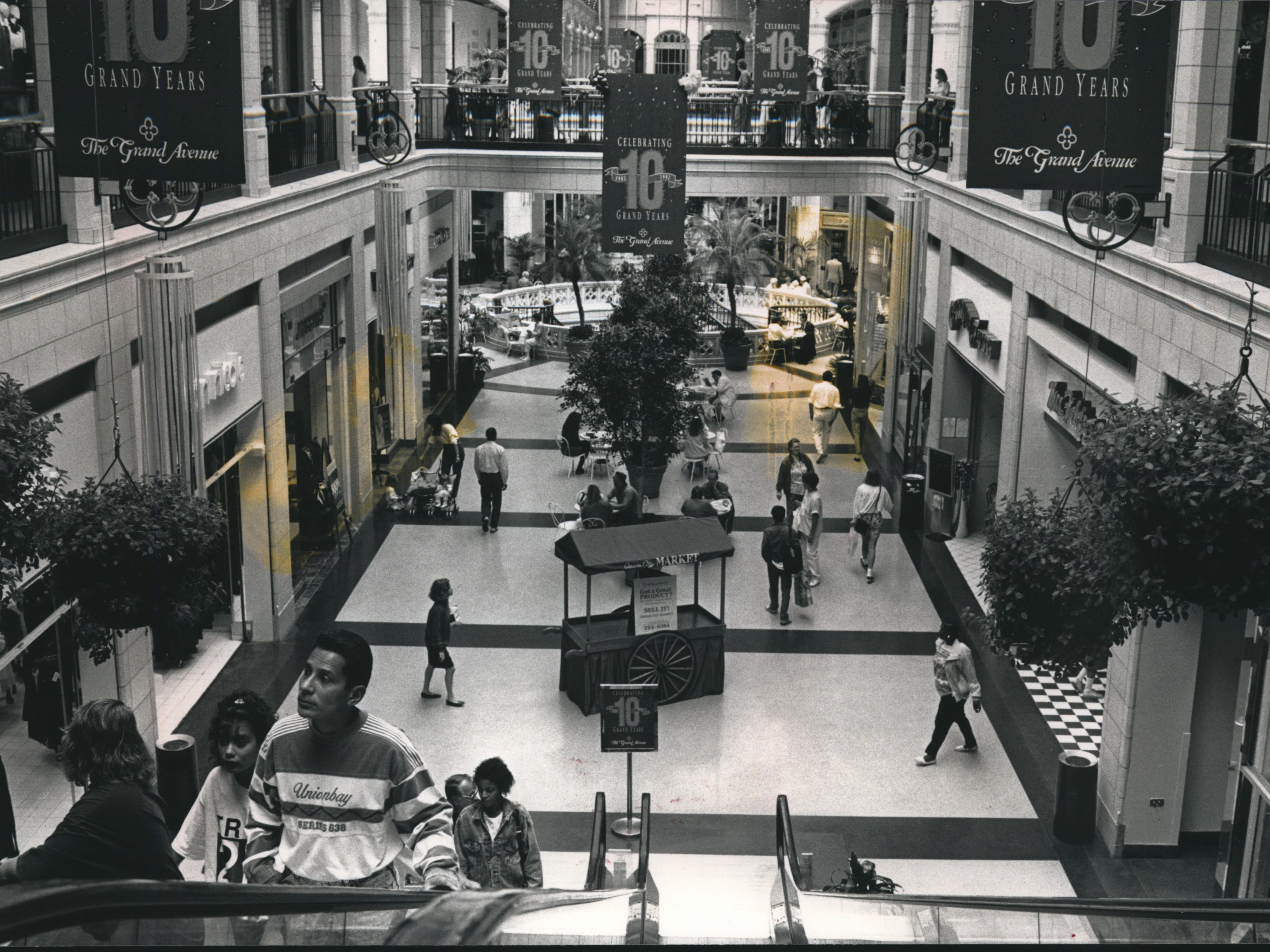 Shoppers make their rounds at the Grand Avenue Mall. Milwaukee, Wisconsin.