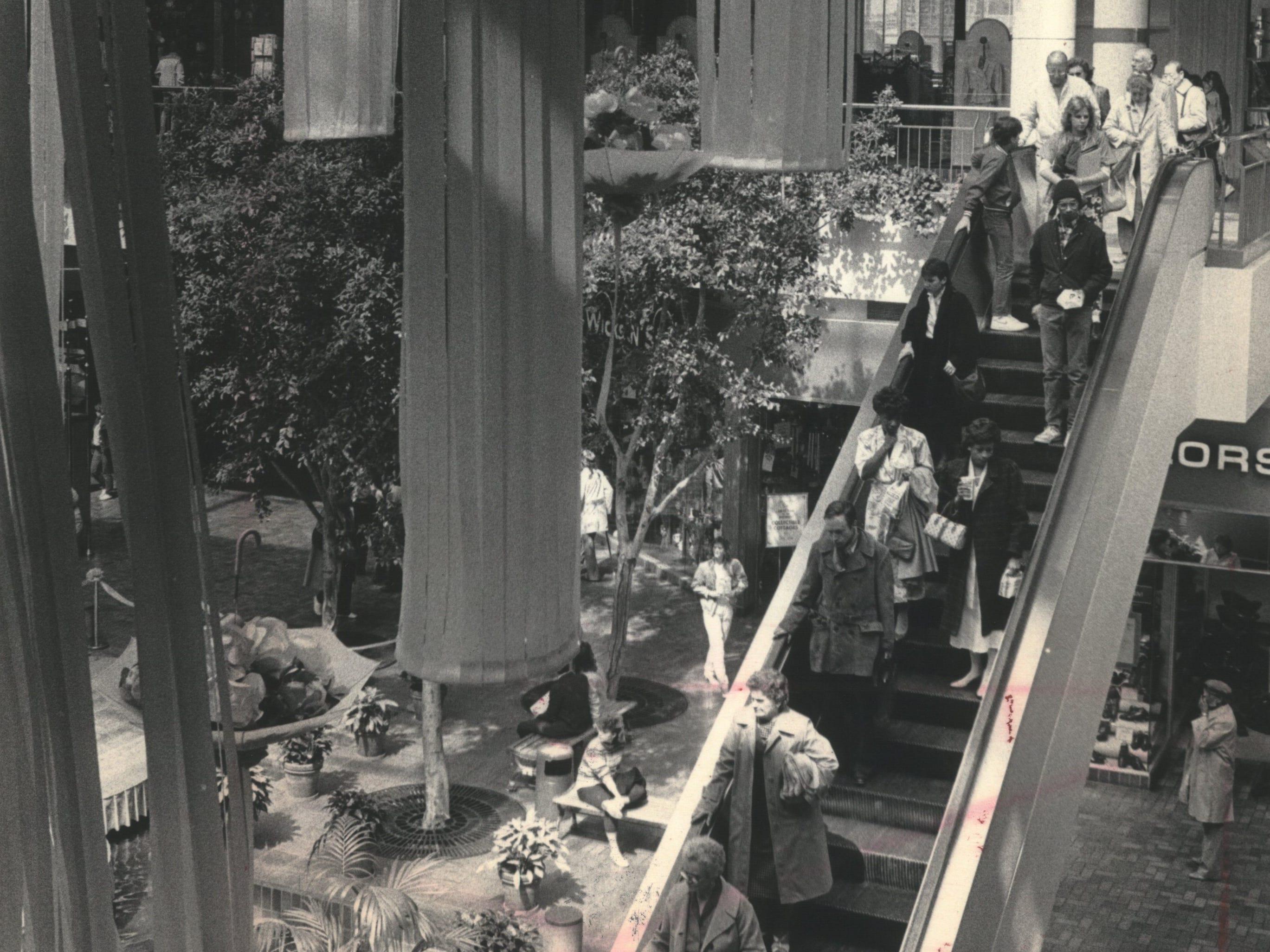Escalators at Grand Avenue mall, Milwaukee, Wisconsin.