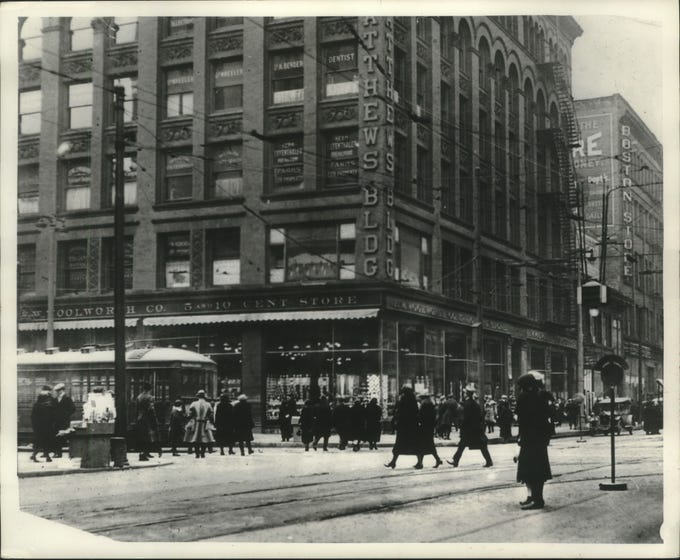 The Matthews Building, built in 1892, was marked for demolition in 1977 before the Grand Avenue retail center was planned around the structure and saved it. The building was sold to the F.W. Woolworth chain in 1925.