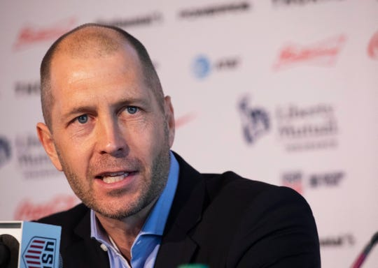 Gregg Berhalter, the new head coach of the U.S. men's national soccer team, talks at a news conference, Tuesday, Dec. 4, 2018, in New York. (AP Photo/Mark Lennihan)