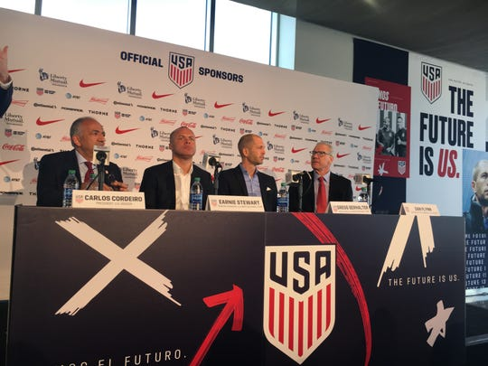 Gregg Berhalter of Tenafly (third from left) was introduced as the next United States men's national soccer team coach on Tuesday by president Carlos Cordeiro, general manager Earnie Stewart, and  CEO Dan Flynn.