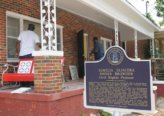Butler Browder and Curtis Browder Coleman as they worked on the home of their mother, Aurelia Shines Browder Coleman, on Highland Avenue in Montgomery in 2008.