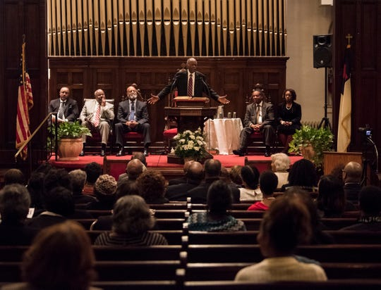 Fred Gray speaks during 63rd anniversary of the Montgomery bus boycott ceremony at First Baptist Church in Montgomery, Ala., on Monday, Dec. 3, 2018.
