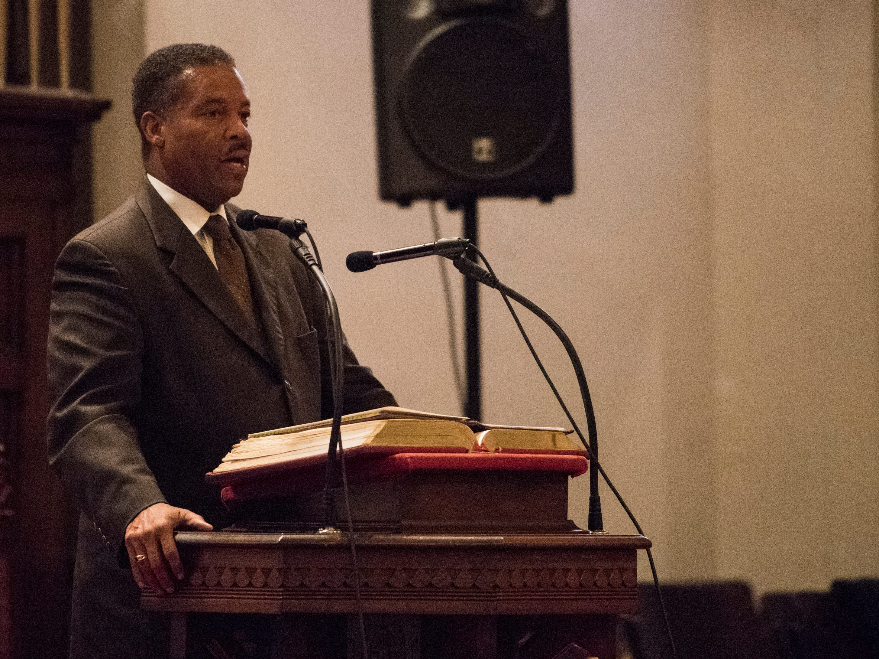 Rev. Cromwell Handy speaks during 63rd anniversary of the Montgomery bus boycott ceremony at First Baptist Church in Montgomery, Ala., on Monday, Dec. 3, 2018.