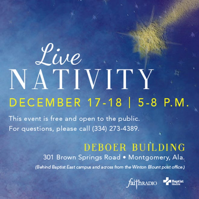 Baptist Health and WLBF Radio are again providing the Live Nativity in front of the DeBoer Building, located at 301 Brown Springs Road right behind Baptist East hospital and adjacent to the Winton Blount Post Office.