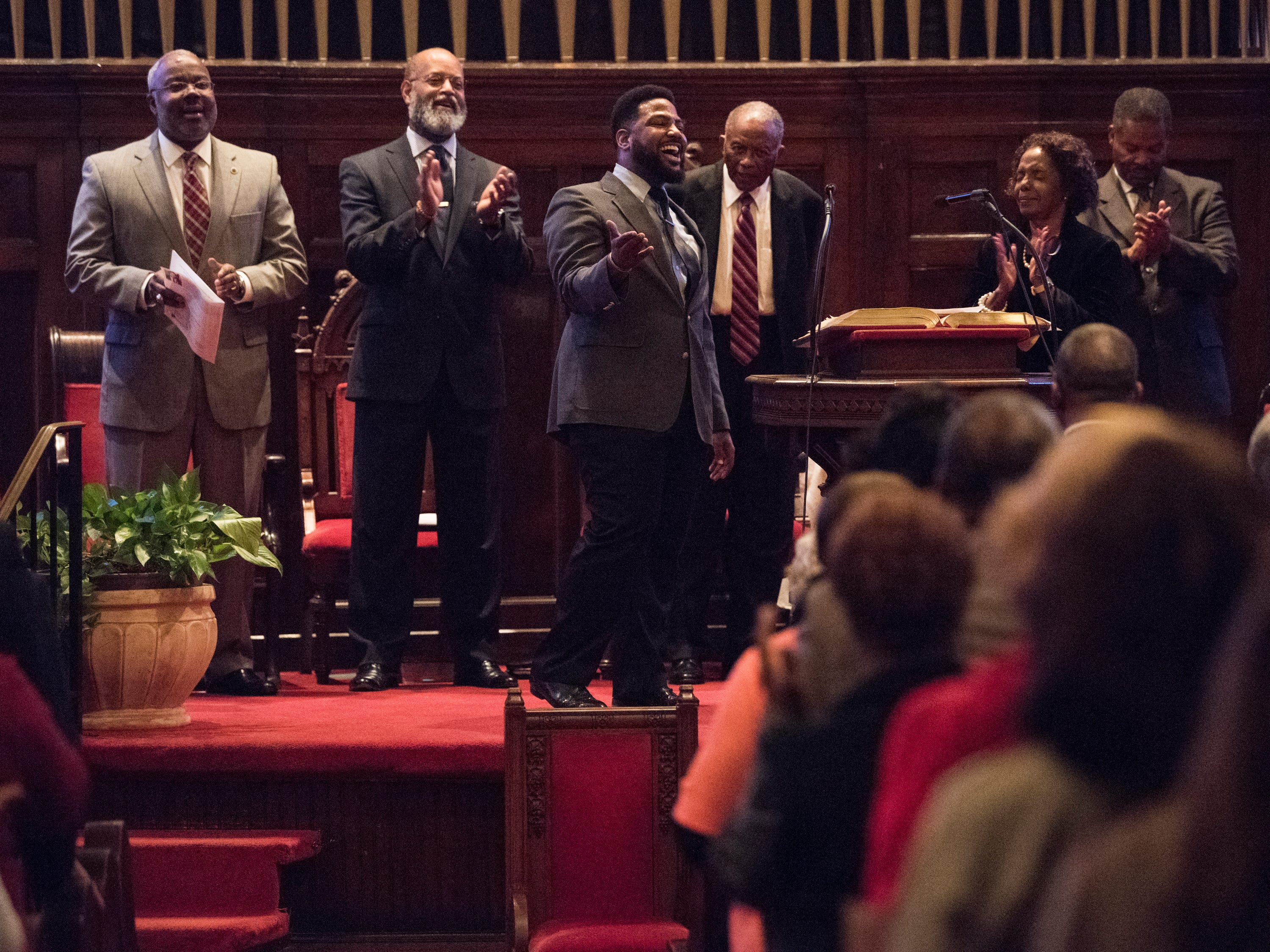 Michael McDonald sings to the crowd during 63rd anniversary of the Montgomery bus boycott ceremony at First Baptist Church in Montgomery, Ala., on Monday, Dec. 3, 2018.
