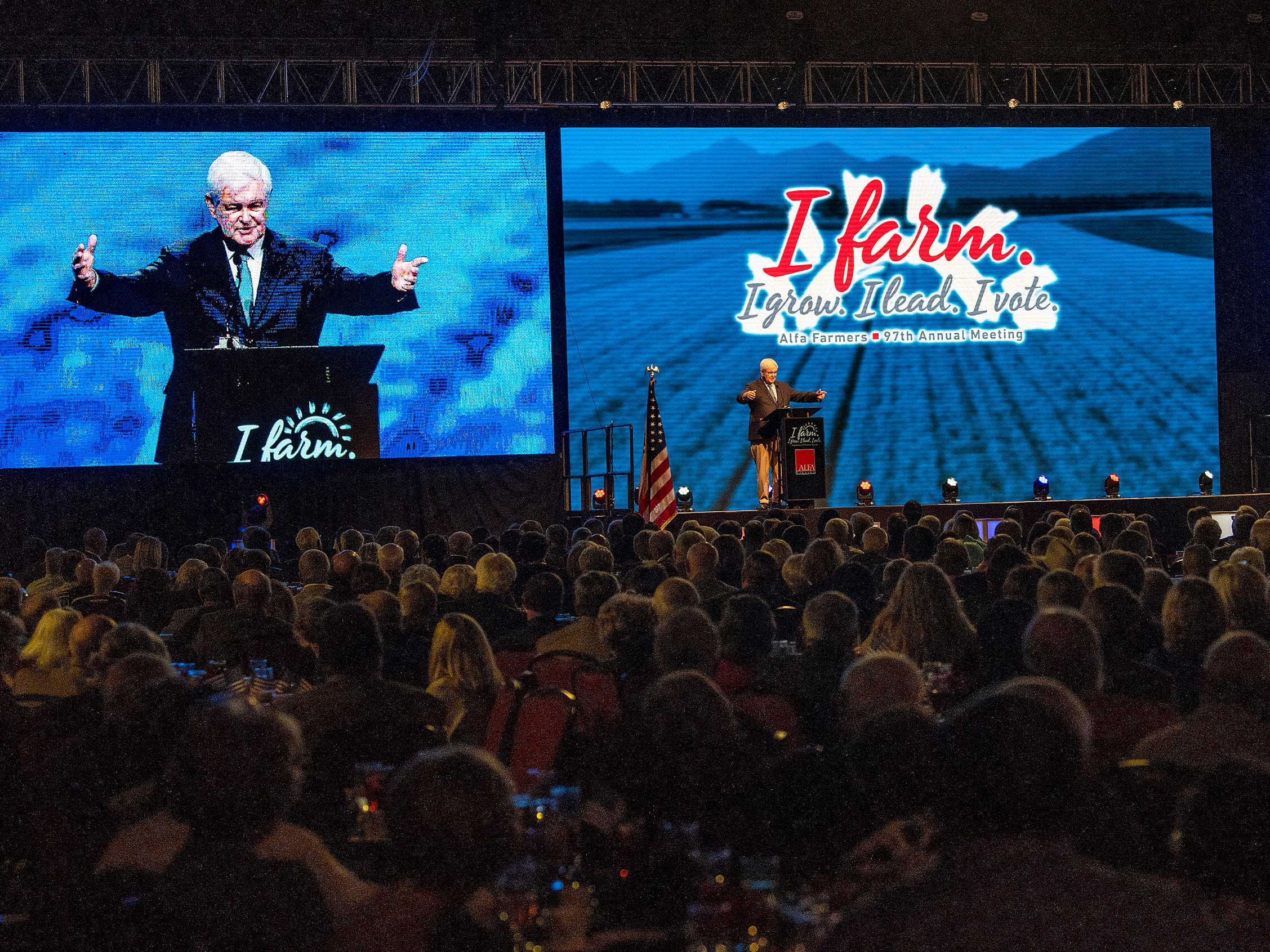 Former Speaker of the House Newt Gingrich gives the keynote address during the Alfa Farmers Annual Meeting at the Convention Center in Montgomery, Ala., on Monday evening December 3, 2018.