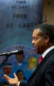 Rev. Cromwell Handy discusses the progress of the Martin Luther King, Jr., statue during a news conference at the Dexter Avenue King Memorial Baptist Church in Montgomery, Ala., on Monday evening December 3, 2018.