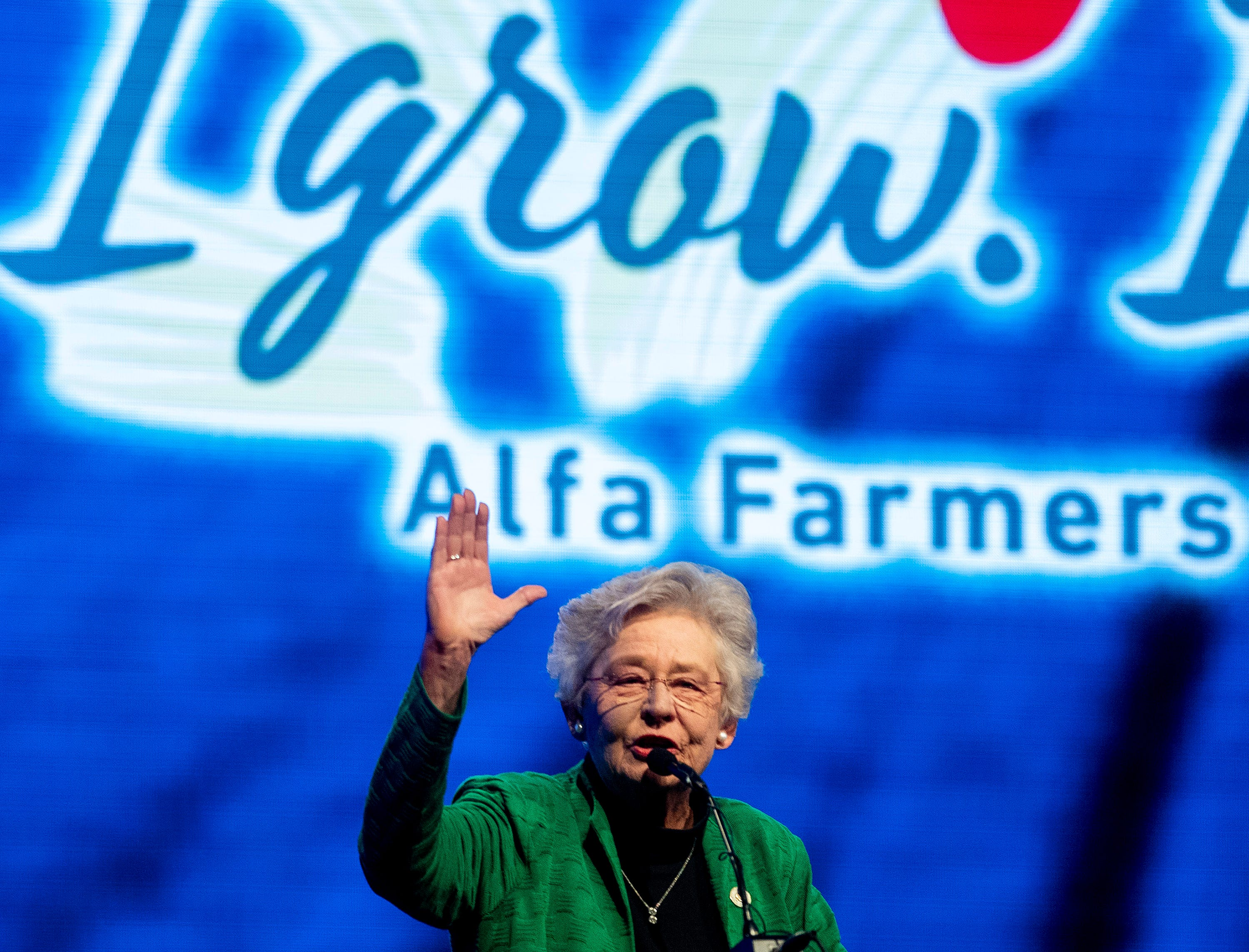 Governor Kay Ivey welcomes everyone to the keynote dinner of the Alfa Farmers Annual Meeting at the Convention Center in Montgomery, Ala., on Monday evening December 3, 2018.