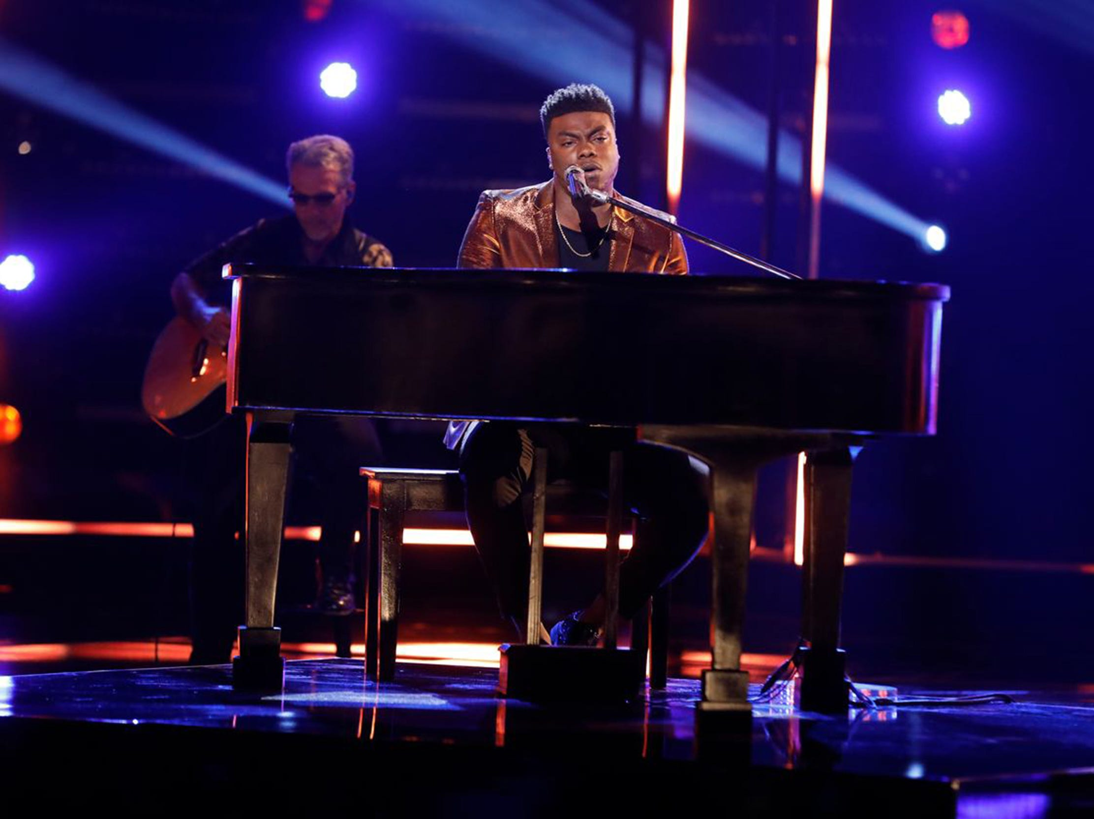 "Montgomery resident Kirk Jay sings ""Tomorrow"" from piano Monday, Dec. 3, 2018, on NBC's ""The Voice."""