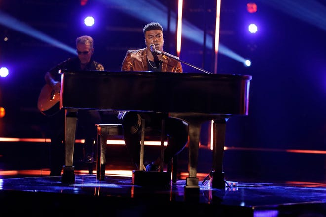 """Montgomery resident Kirk Jay sings """"Tomorrow"""" from piano Monday, Dec. 3, 2018, on NBC's """"The Voice."""""""