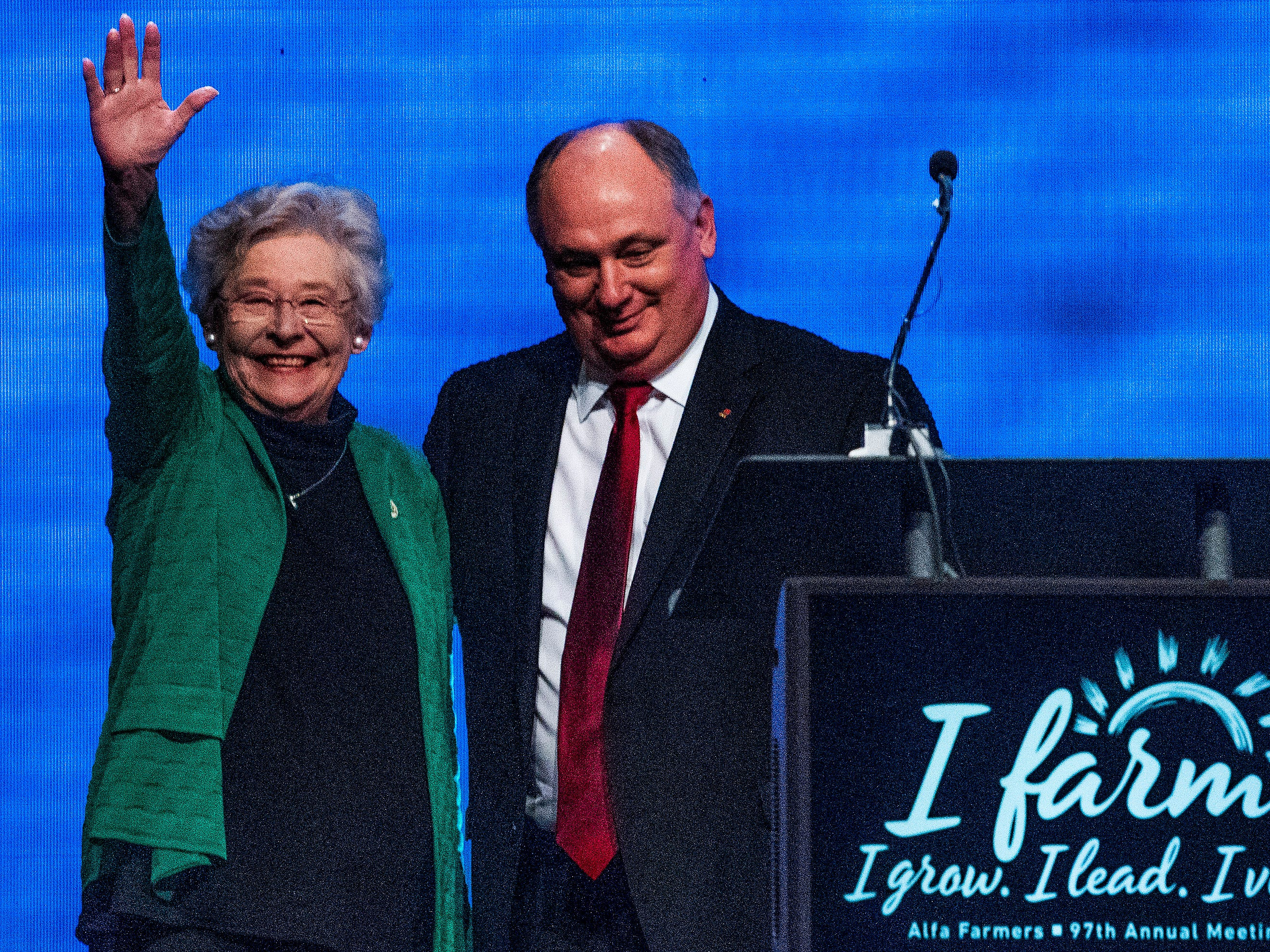 Governor Kay Ivey is greeted by Alabama Farmers Federation President during the Alfa Farmers Annual Meeting at the Convention Center in Montgomery, Ala., on Monday evening December 3, 2018.