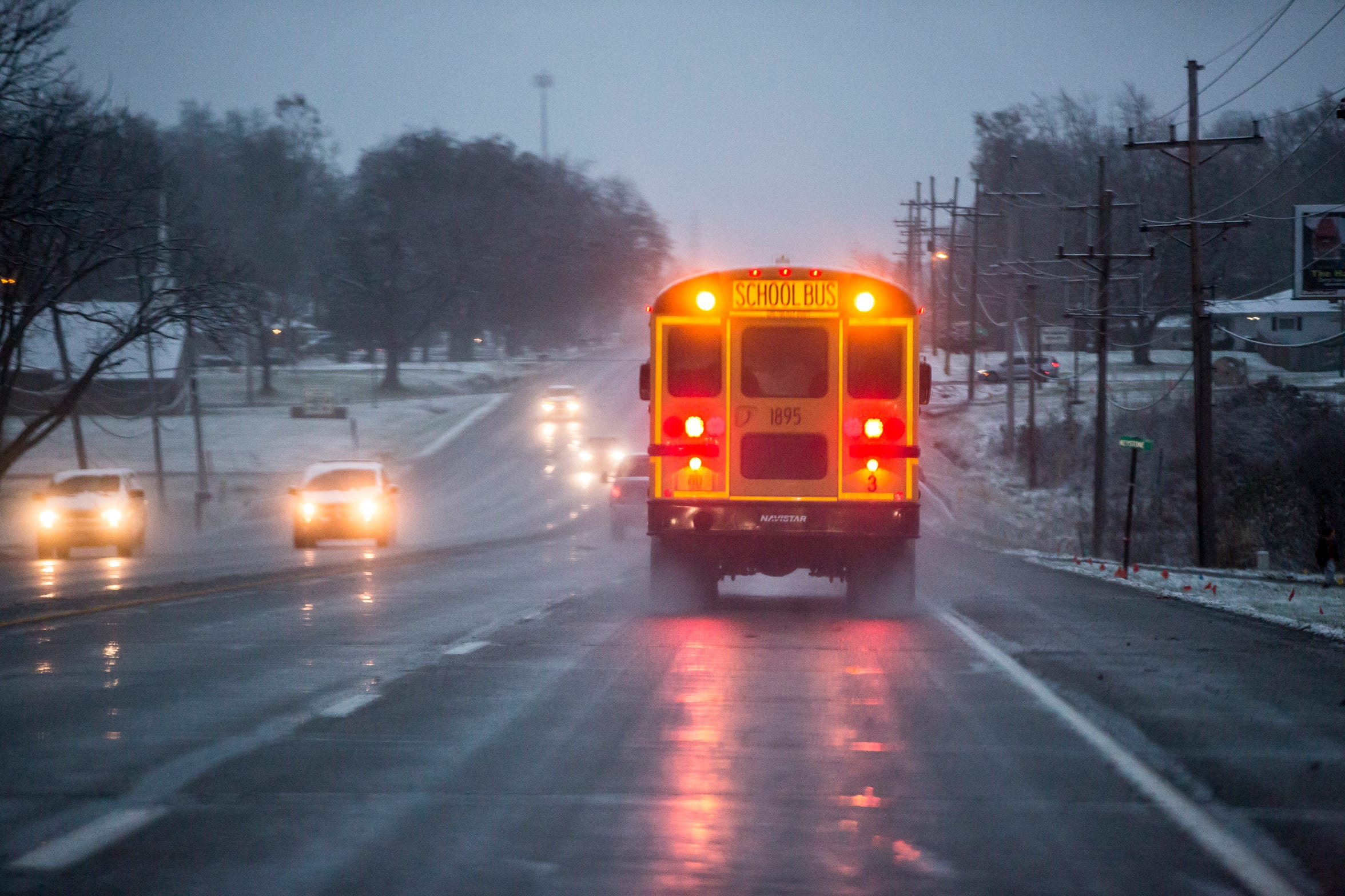 School buses traveling along East Jackson Street between the Muncie Bypass and Selma Elementary have vehicles that don't stop on the four lane highway for school buses. The law requires all lanes of traffic to stop on a non-divided highway when a school bus stops.