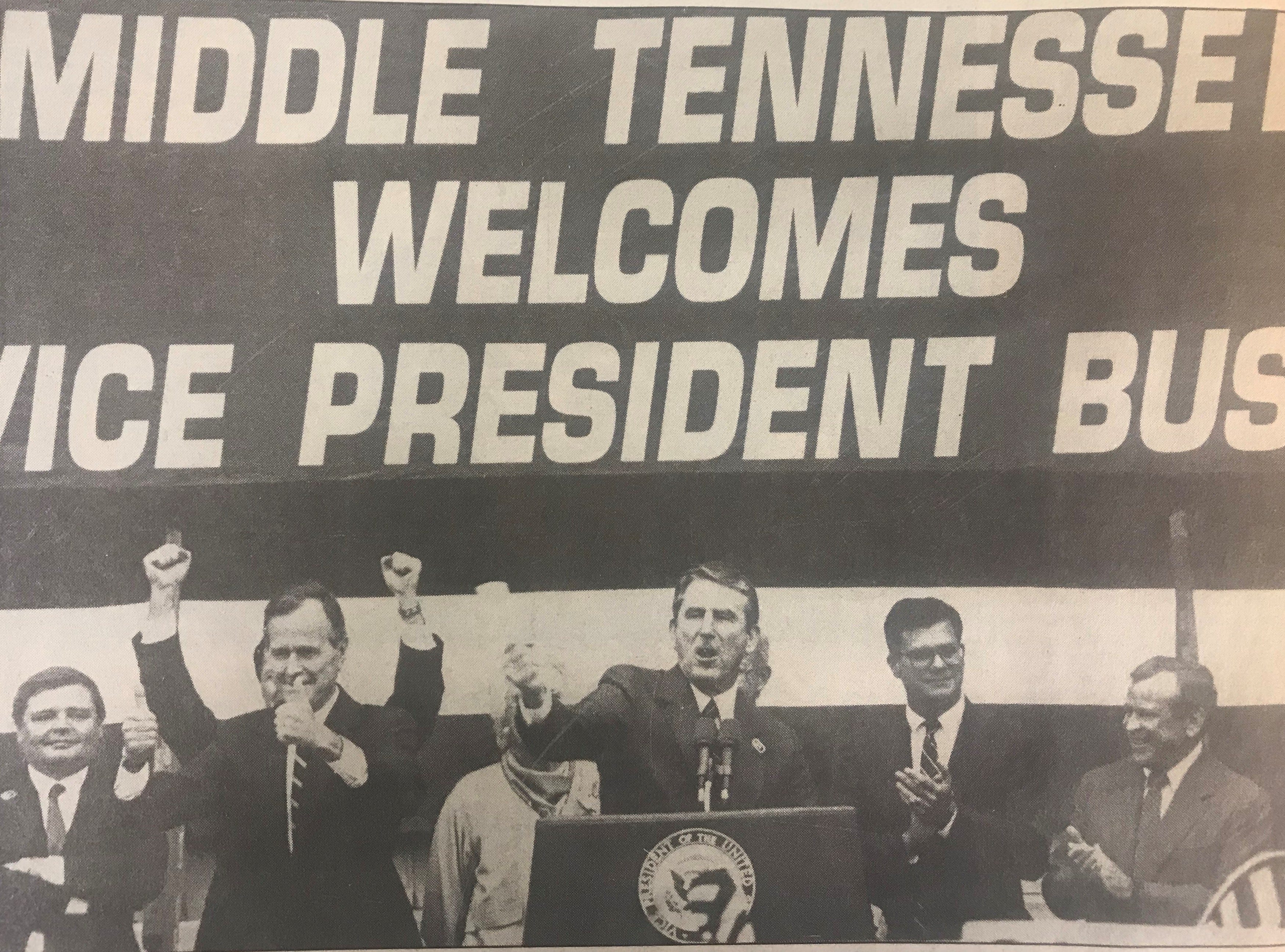 In this Aug. 29, 1988 photo, Vice President George H.W. Bush addresses a crowd of 5,000 at MTSU in Murfreesboro, Tenn.