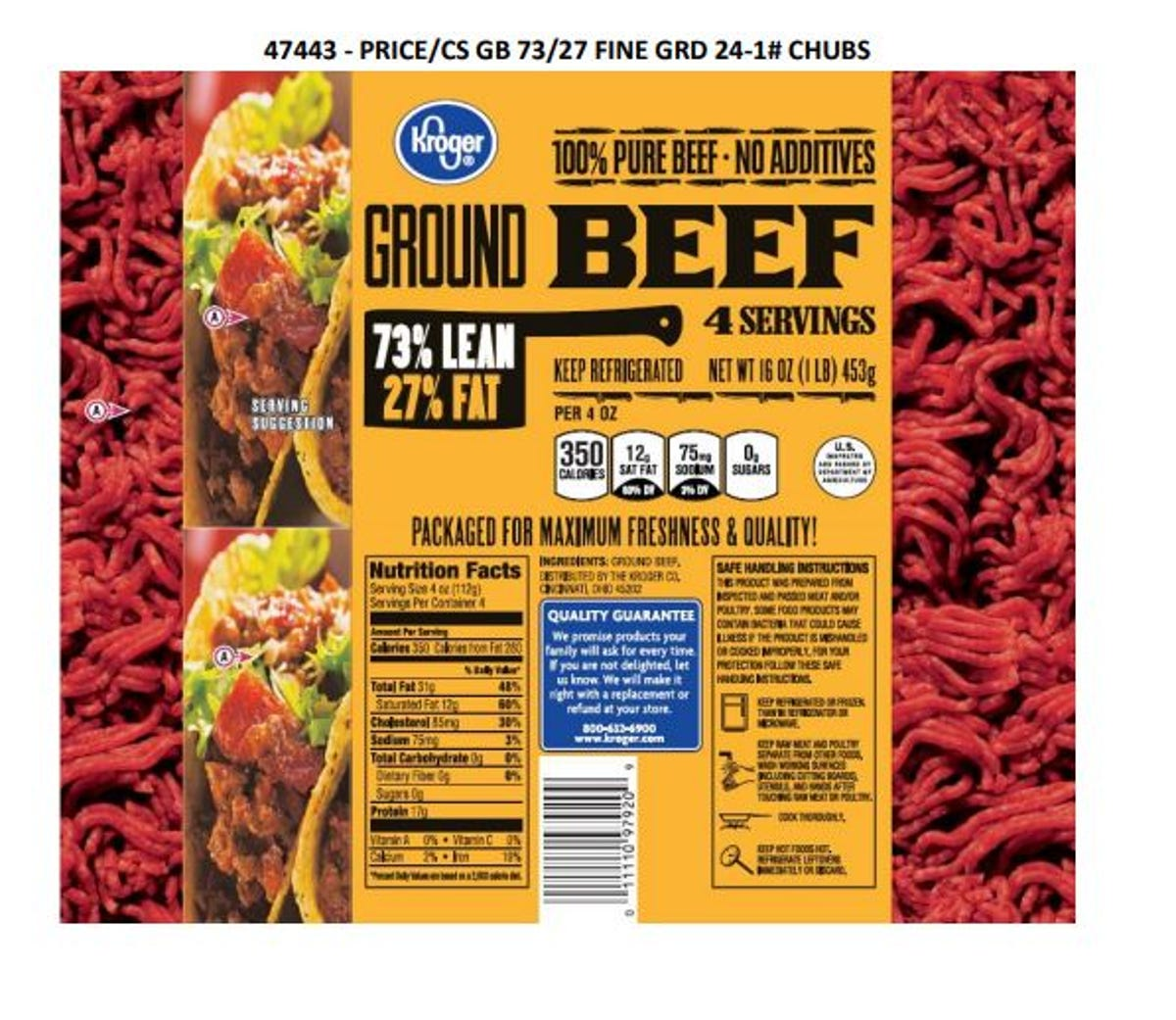 JBS Tolleson ground beef recall: Kroger product contained
