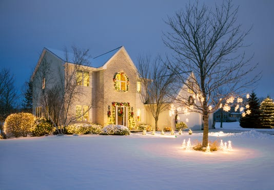 Christmas Decorated Home With Holiday Lighting Snow