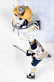 Pekka Rinne makes a save against the Buffalo Sabres on Dec. 3 at Bridgestone Arena.