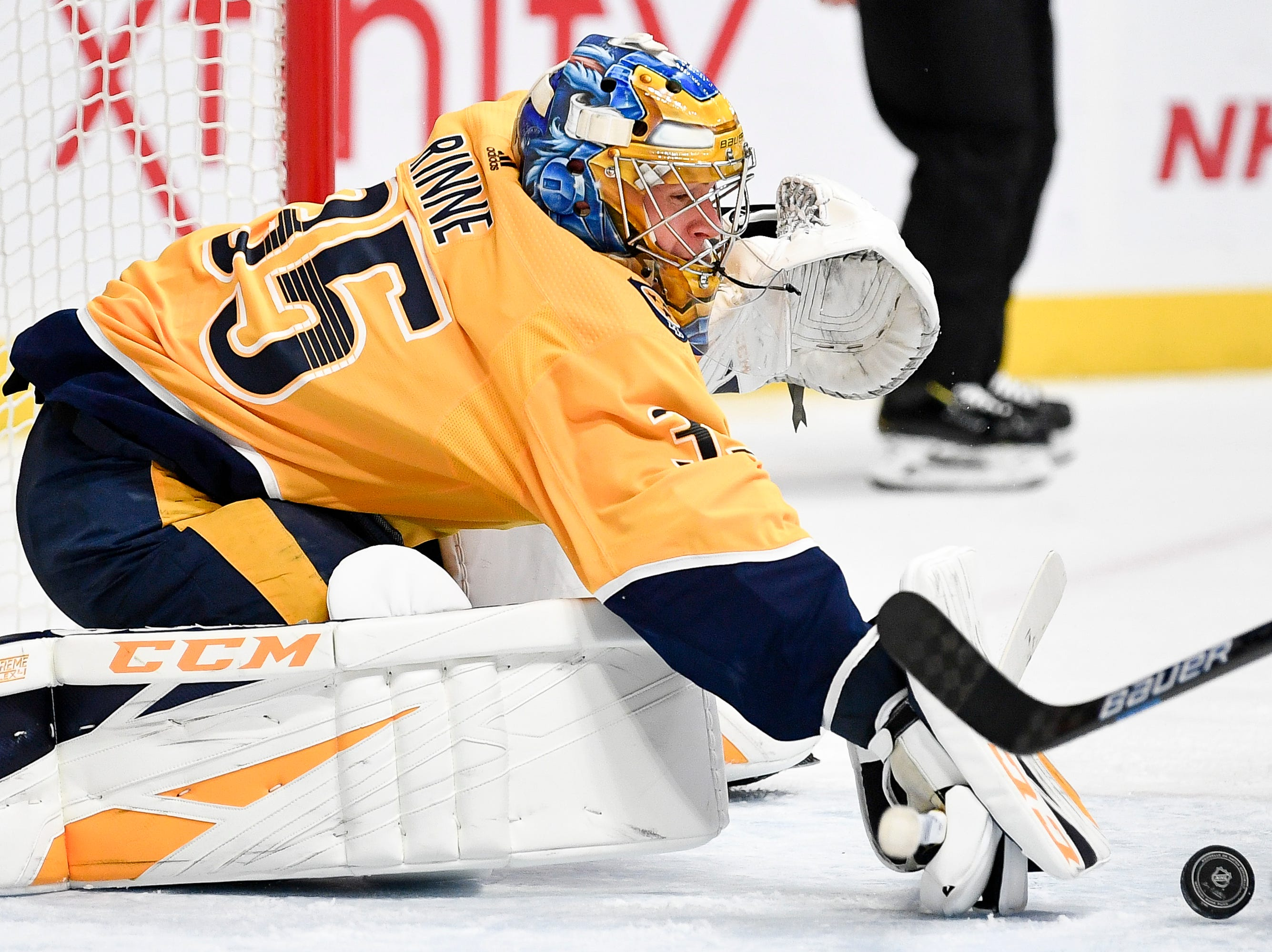 Nashville Predators goaltender Pekka Rinne (35) stops a Buffalo Sabres shot during the second period at Bridgestone Arena in Nashville, Tenn., Monday, Dec. 3, 2018.