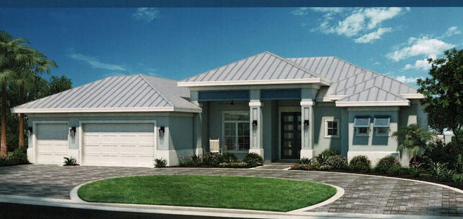 An artist's conception of the Sunset Key, a new Florida Lifestyle Homes design at Naples Reserve.