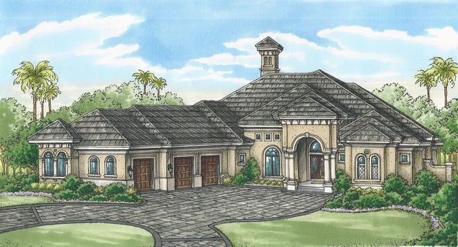 The Cambridge by Florida Lifestyle Homes offers a lake and golf course view.