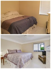 Before and after of a bedroom lightly staged by Naples Realtor Karly Carballea. She opened up the blinds and added a newer comforter to make the room more visually appealing.