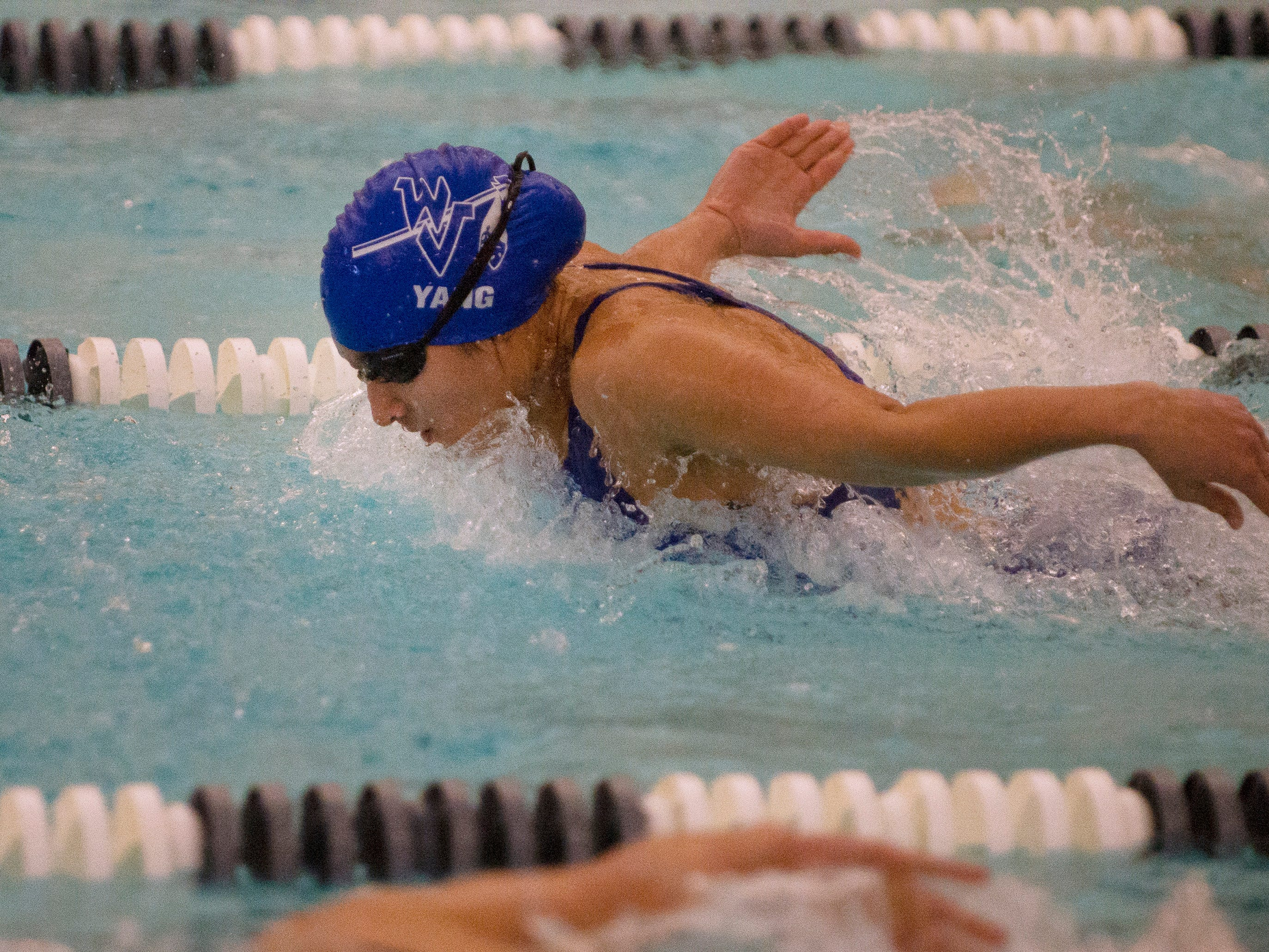 Grace Sendak of Wayne Valley competes in the 100 yard butterfly, which she finished in second place, during the boys and girls swimming meet between Northern Highlands and Wayne Valley at the Wayne YMCA in Wayne on 12/04/18.