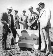 Ramsey Mayor Emil Porfido (left) wields the spade at groundbreaking ceremonies for the new office facilities of Colorform to be constructed in the Ramsey Industrial Park, with target for completion July 1980. Also participating in the rites are (from left) Henry Friedman; Borough Council President Eleanor Rooney; Peter Lehrer of construction management; Androc Kislevitz, and Phil Williams, Ramsey Planning Board. AUG. 16, 1979