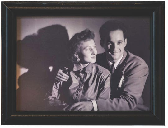 Close-up of a framed photo of Patricia Kislevitz and her late husband Harry when they started the Colorforms in 1951.
