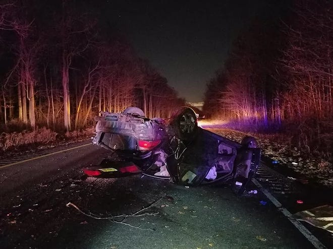 A car overturned car shutdown a section of the Palisades Interstate Parkway in Alpine early Tuesday morning.
