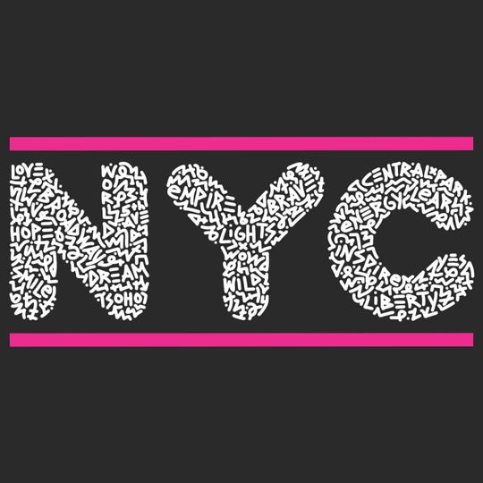 """For this """"NYC"""" logo, Marco Santini asked friends, family and strangers what NYC means to them, and within the design you will find a positive and uplifting collection of words that represent the essence of New York."""