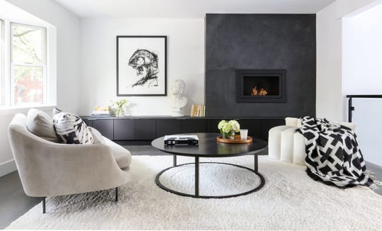 Marina Cheban of Cheban Interiors in Hoboken designed this Jersey City room with a clean-burning and eco-friendly fireplace.