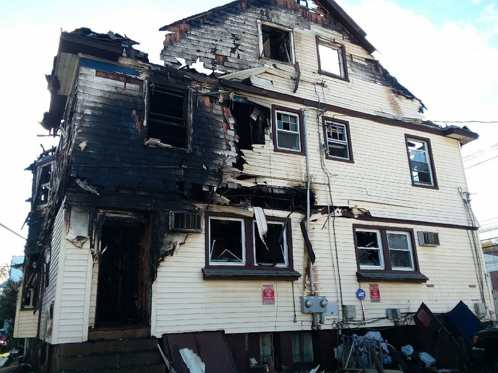 The rooming house on Valley Road after the fire.