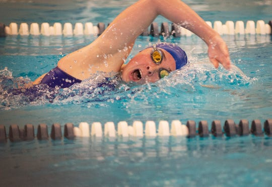 Claire Custance of Wayne Valley competes in the 200 yard IM during the boys and girls swimming meet between Northern Highlands and Wayne Valley at the Wayne YMCA in Wayne on 12/04/18.