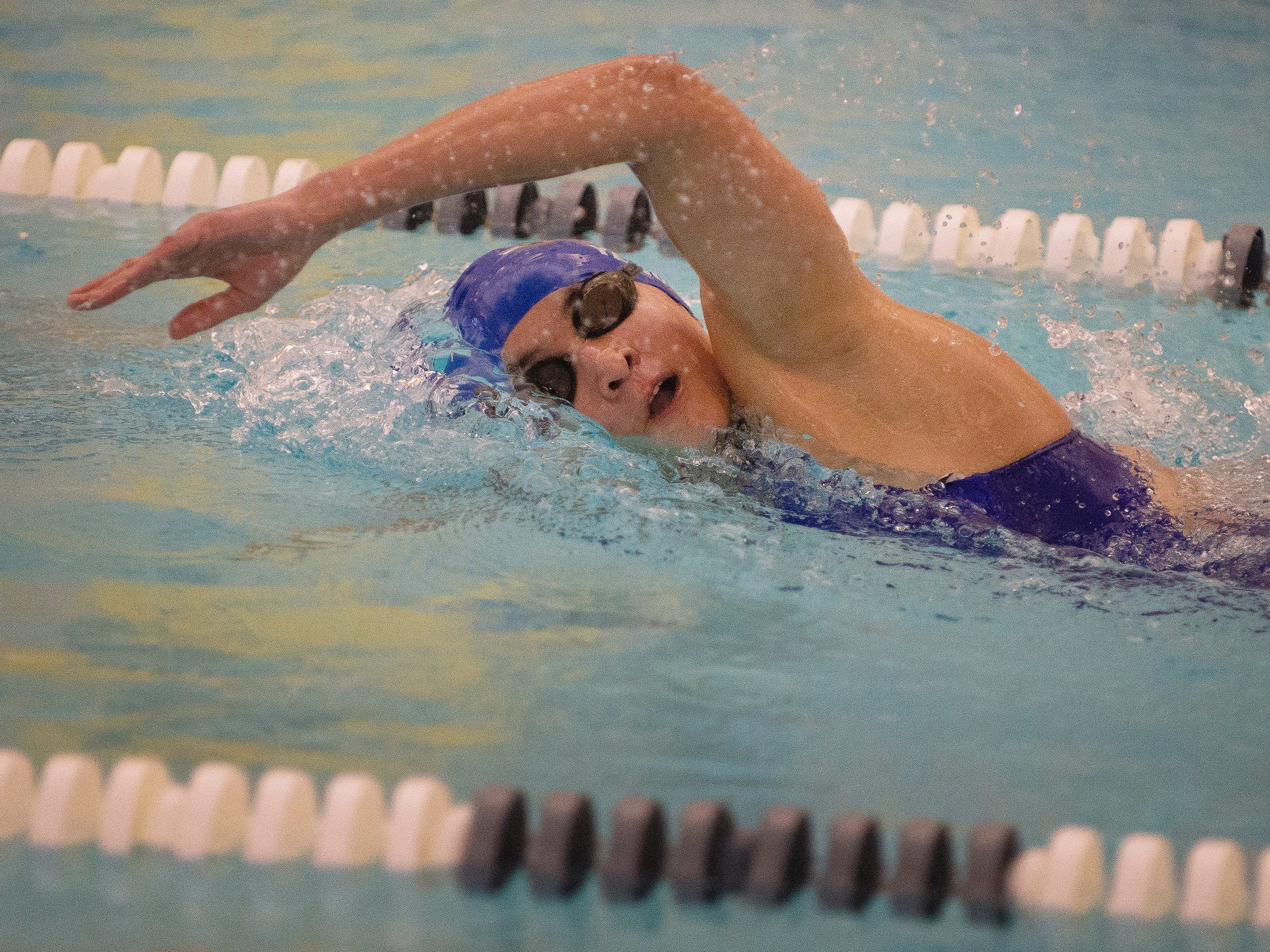 Grace Sendak of Wayne Valley competes in the 500 yard freestyle, which she won first place, during the boys and girls swimming meet between Northern Highlands and Wayne Valley at the Wayne YMCA in Wayne on 12/04/18.