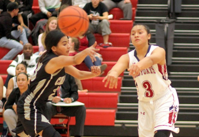 Freshman Lady 'Cat Harmanie Dominguez (3) led the Lady 'cats to a season-opening victory over the Chaparral Lobos back on Nov. 27. The 5-foot-9 swing lady led all scorers with 17 points. Dominguez and the Lady 'Cats will be back in action Tuesday when the Silver High Fighting Colts come to town for a 7 p.m. tip off.
