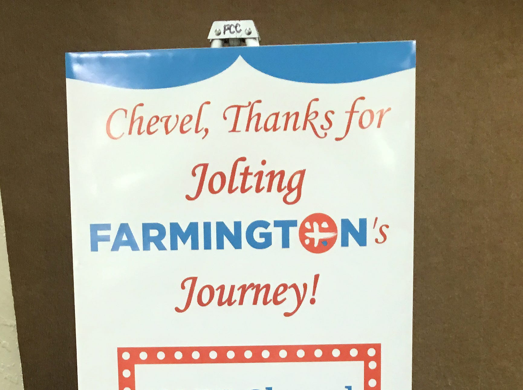 """A sign outside the Chevel Shepherd """"The Voice"""" watch party in Farmington Civic Center greeted attendees, more than 400 of them."""