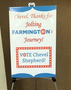 "A sign outside the Chevel Shepherd ""The Voice"" watch party in Farmington Civic Center greeted attendees, more than 400 of them."