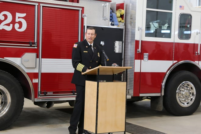 San Juan County fire Chief Craig Daugherty speaks Tuesday during a ribbon-cutting ceremony at the new Lee Acres Fire Station No. 2 in West Hammond.