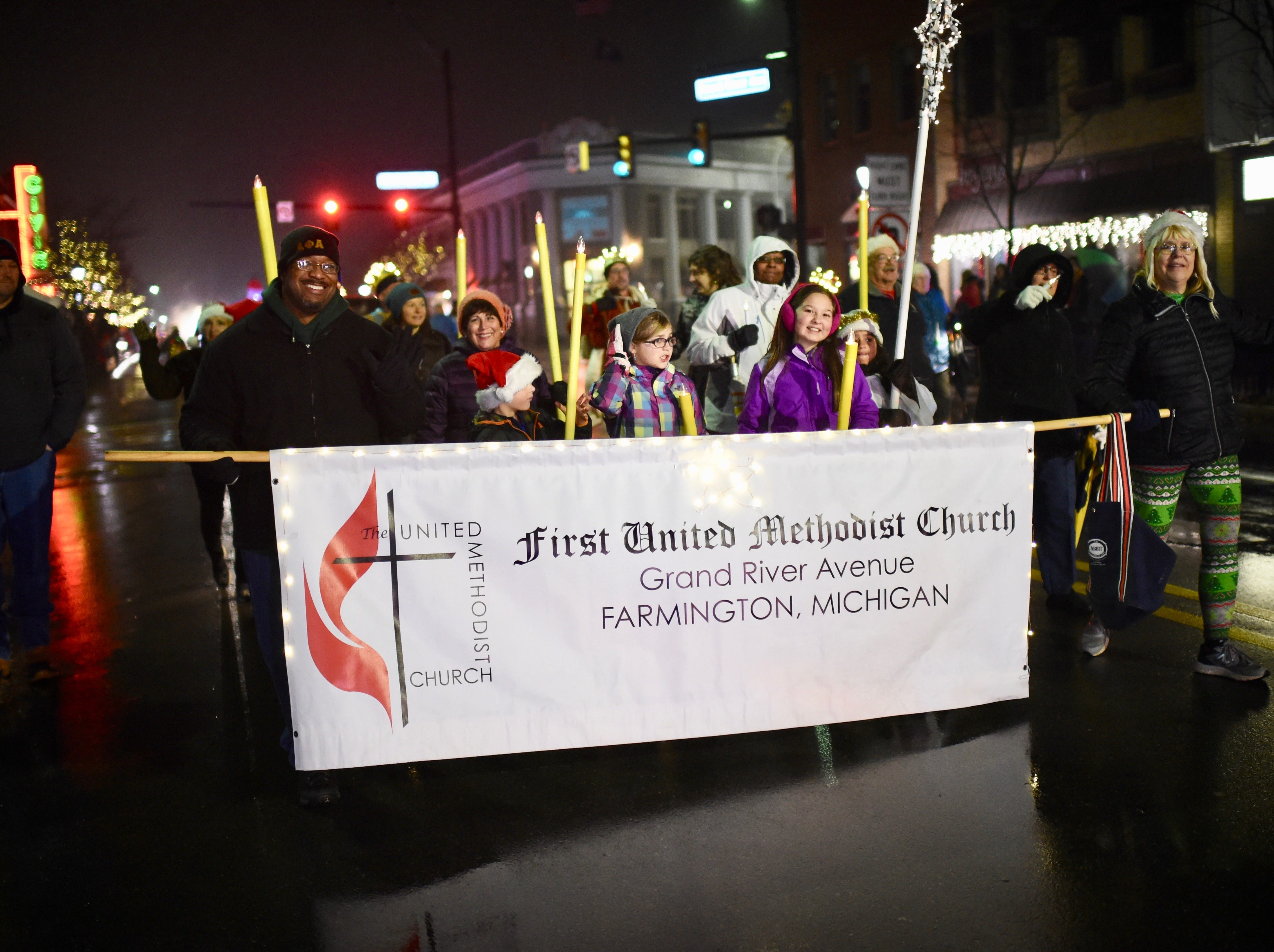 First United Methodist Church members were all smiles as they took part in the annual Holly Days Parade.