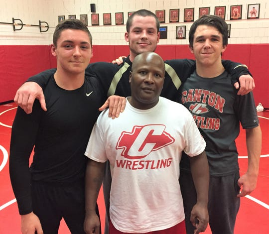 Canton coach Billy Taylor (bottom) will rely on captains (from left) Dyland Slowik, Chris Little and Mitch Winnie.