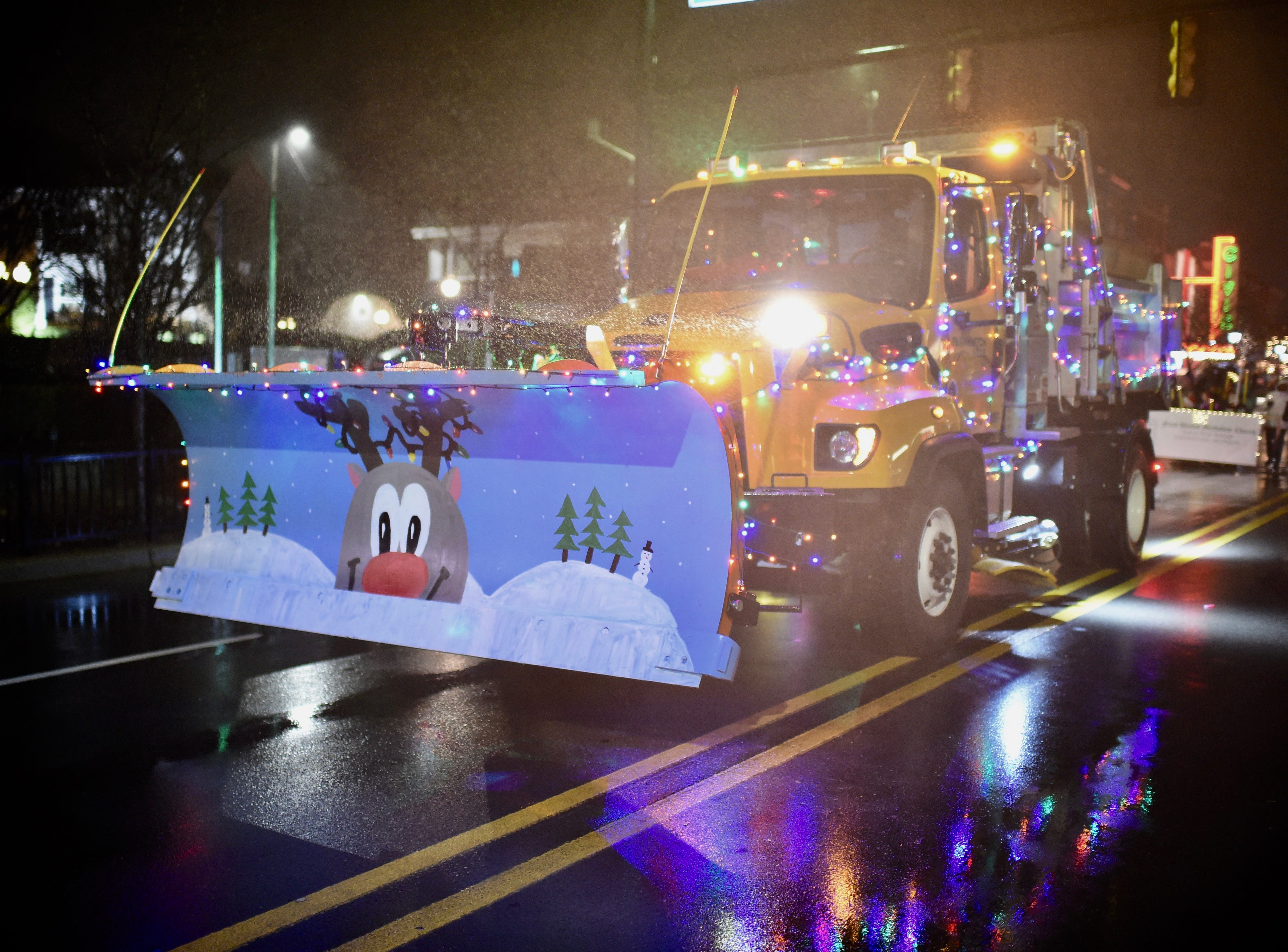 Even the city snow plow got into the holiday spirit.