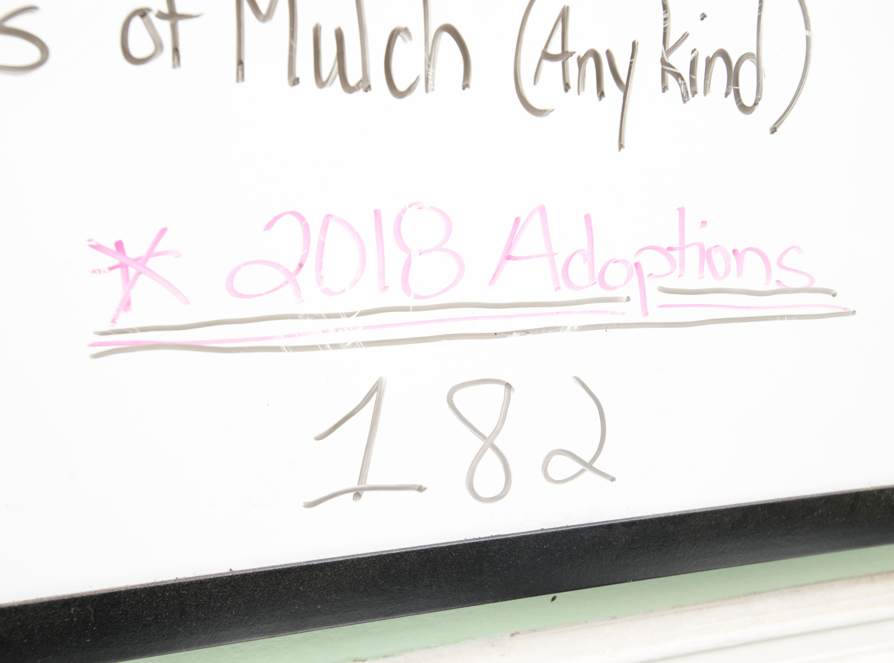 A sign indicates that 182 dogs have been adopted so far this year at the Phoenix Rising Rescue & Adoption Center in Cantonment on Tuesday, December 4, 2018.
